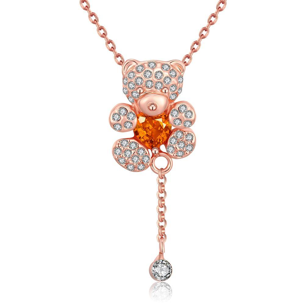 Vienna Jewelry 18K Rose Gold Plated Teddy BearNecklace