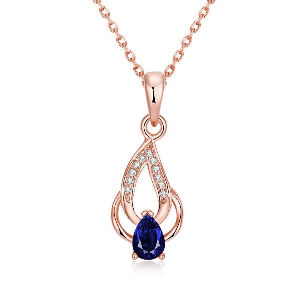 Vienna Jewelry Rose Gold Plated Saphire Double * Pendant Necklace