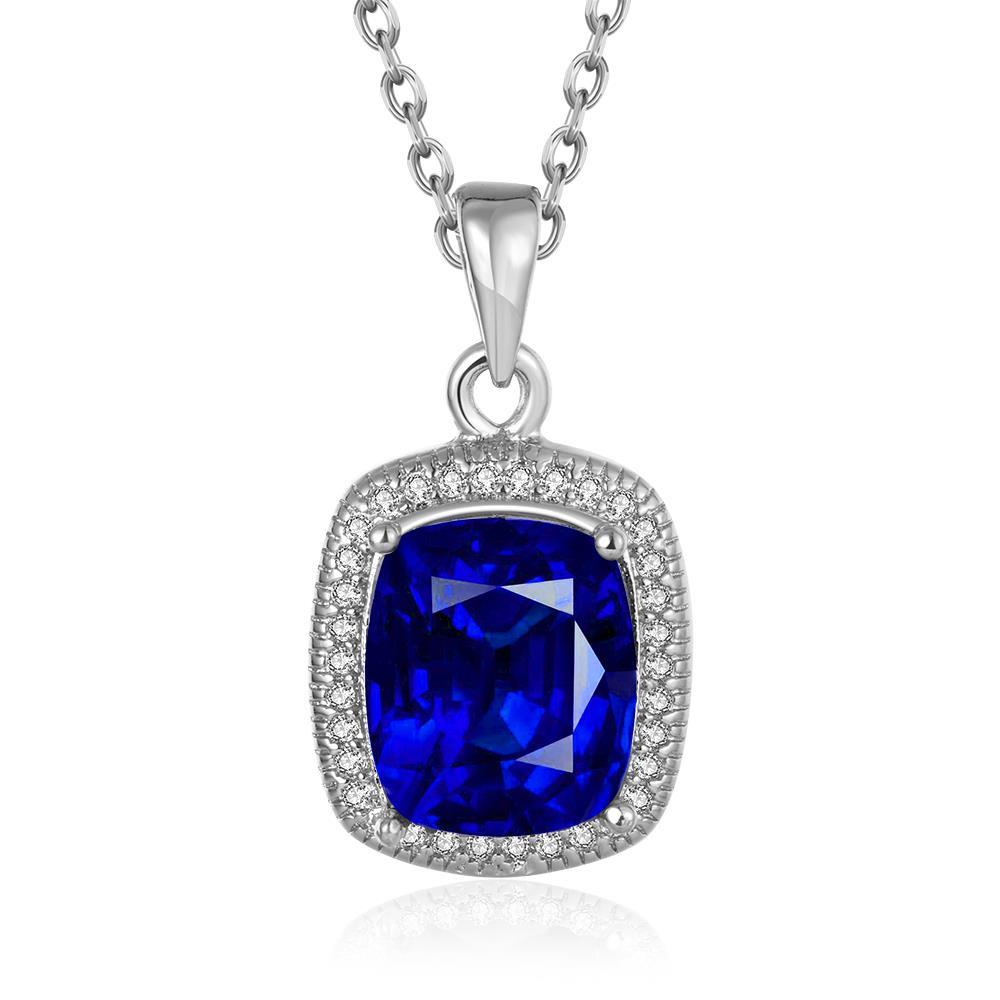 Vienna Jewelry White Gold Plated Sapphie Gem Pendant Necklace