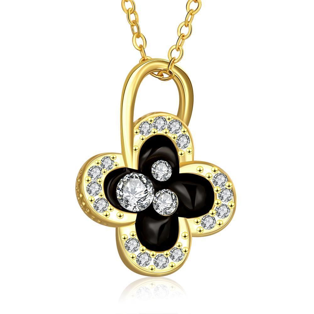 Vienna Jewelry Gold Plated Dangling Clover Jewels Necklace