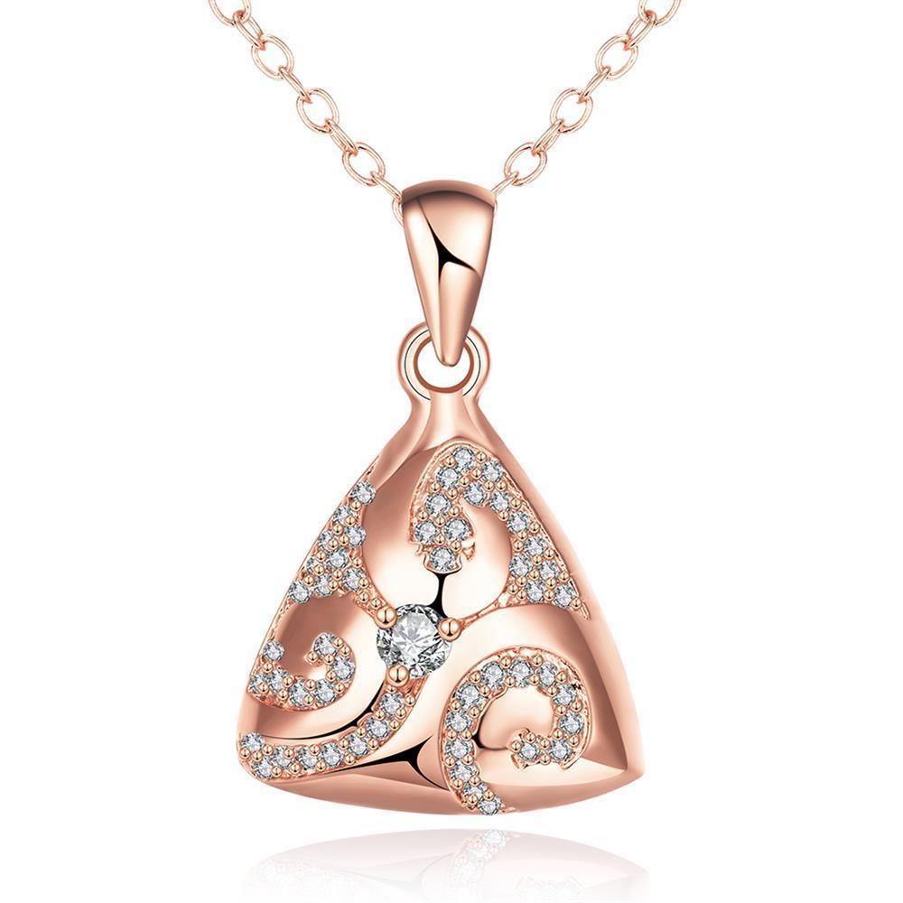 Vienna Jewelry Rose Gold Plated Triangular Pyramid Necklace