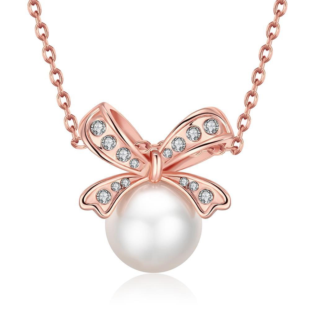 Vienna Jewelry 18K Rose Gold Plated Bow Pearled Necklace