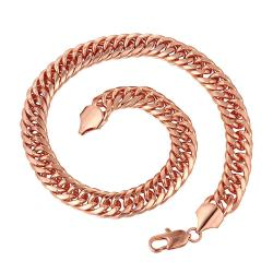 Vienna Jewelry Rose Gold Plated Interlocking Spiral Chain Necklace