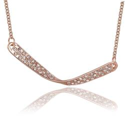 Vienna Jewelry Rose Gold Plated Spiral Curved Plate Emblem Necklace - Thumbnail 0