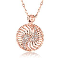 Vienna Jewelry Rose Gold Plated Inter-Circular Necklace
