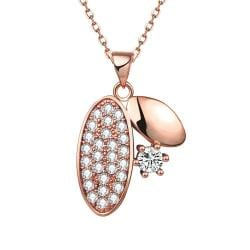 Vienna Jewelry Rose Gold Plated Crystal Covered Grape Vine Necklace - Thumbnail 0