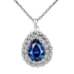 Vienna Jewelry White Gold Plated Mock Sapphire Blossoming Emblem Necklace - Thumbnail 0