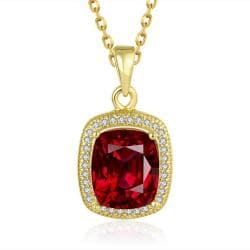Vienna Jewelry Gold Plated Ruby Gem Pendant Necklace - Thumbnail 0