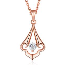 Vienna Jewelry Rose Gold Plated Pyramid Abstract Drop Necklace