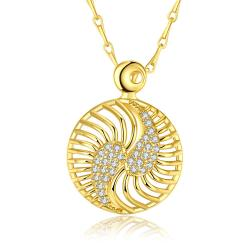 Vienna Jewelry Gold Plated Inter-Circular Necklace - Thumbnail 0