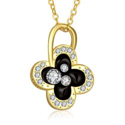 Vienna Jewelry Gold Plated Dangling Clover Jewels Necklace - Thumbnail 0