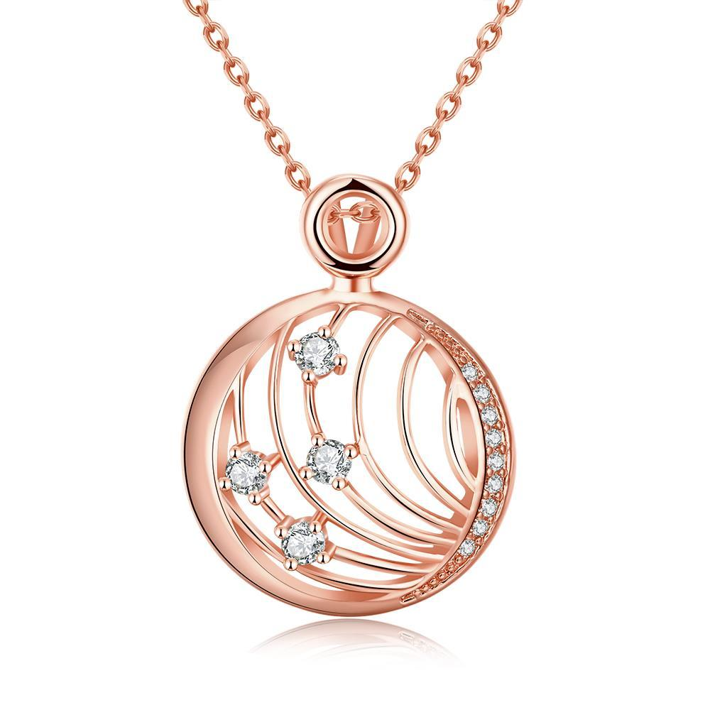 Vienna Jewelry Rose Gold Plated Laser Cut Crystal Covering Necklace