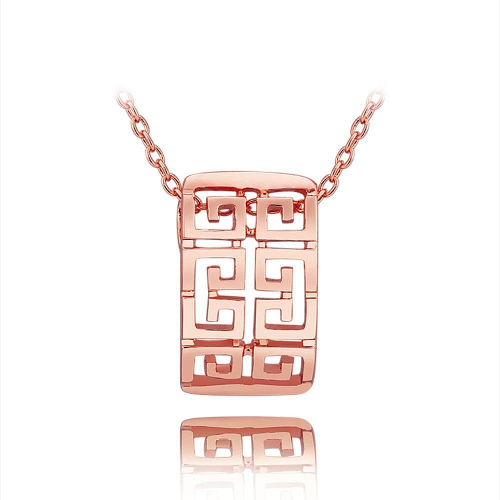 Vienna Jewelry Rose Gold Laser Cut Emblem Necklace