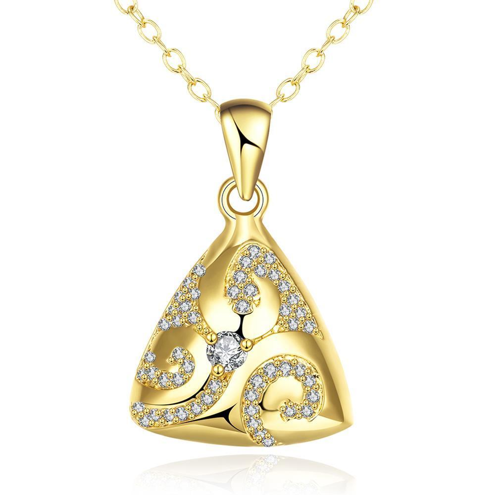 Vienna Jewelry Gold Plated Triangular Pyramid Necklace