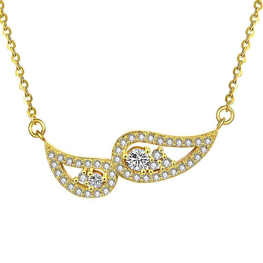 Vienna Jewelry Gold Plated Double Emblem Necklace