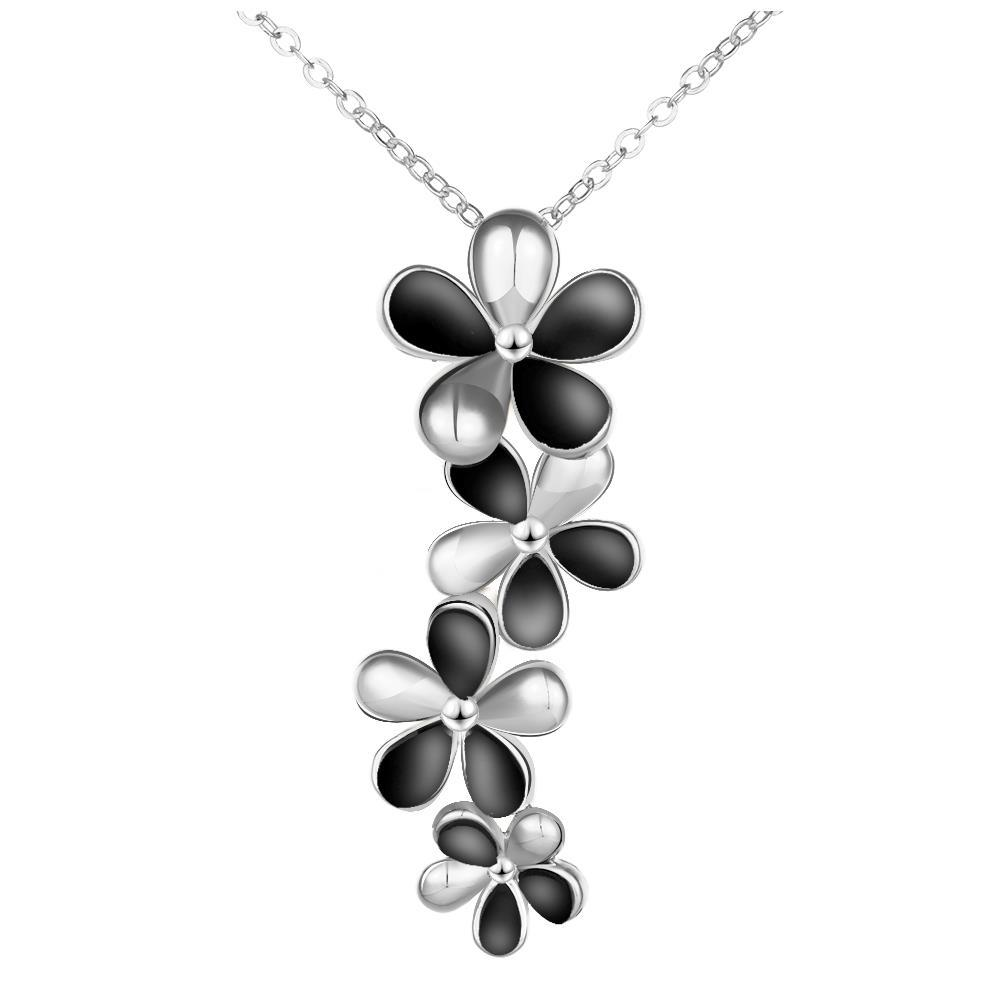 Vienna Jewelry White Gold Plated Onyx Floral Dangling Necklace