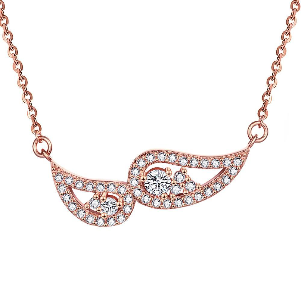 Vienna Jewelry Rose Gold Plated Double Emblem Necklace