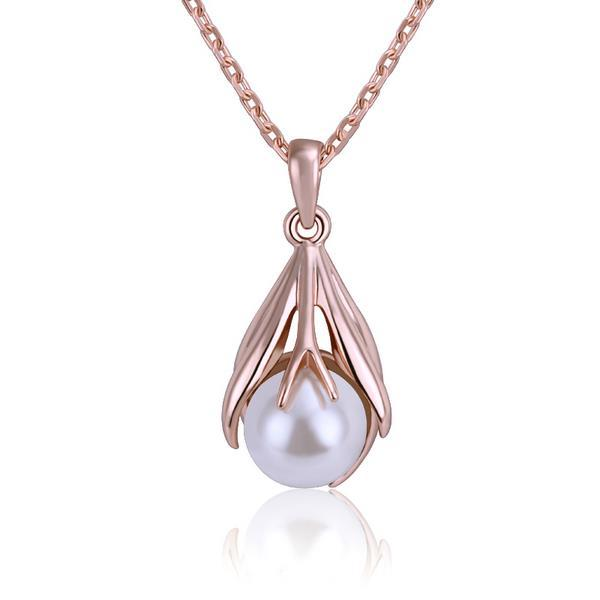 Vienna Jewelry Rose Gold Plated Pearl Drop Dangling Necklace