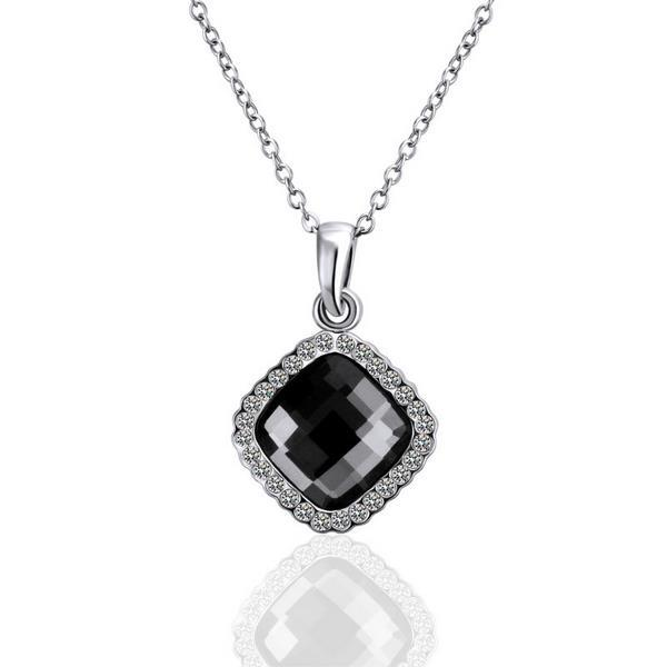 Vienna Jewelry White Gold Plated Onyx Diamond Shaped Necklace