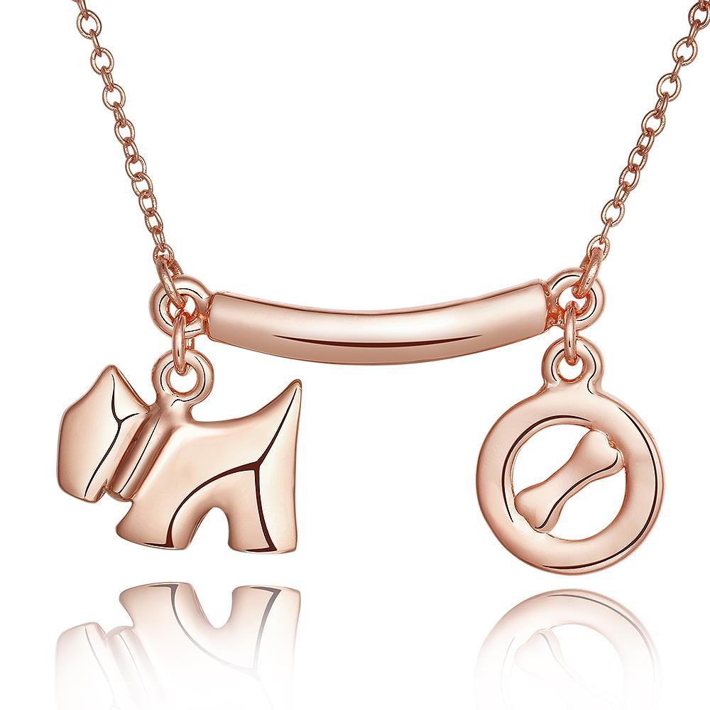 Vienna Jewelry Rose Gold Plated Puppy & Dog Treat Necklace
