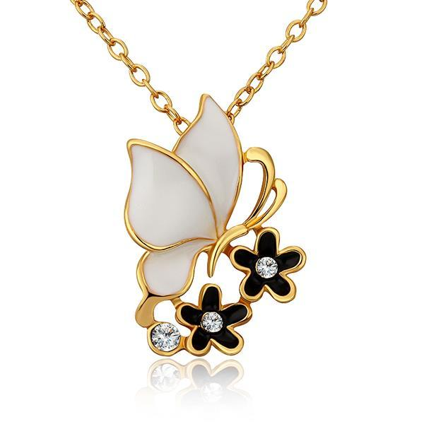 Vienna Jewelry Gold Plated Ivory Butterfly Onyx Floral Necklace