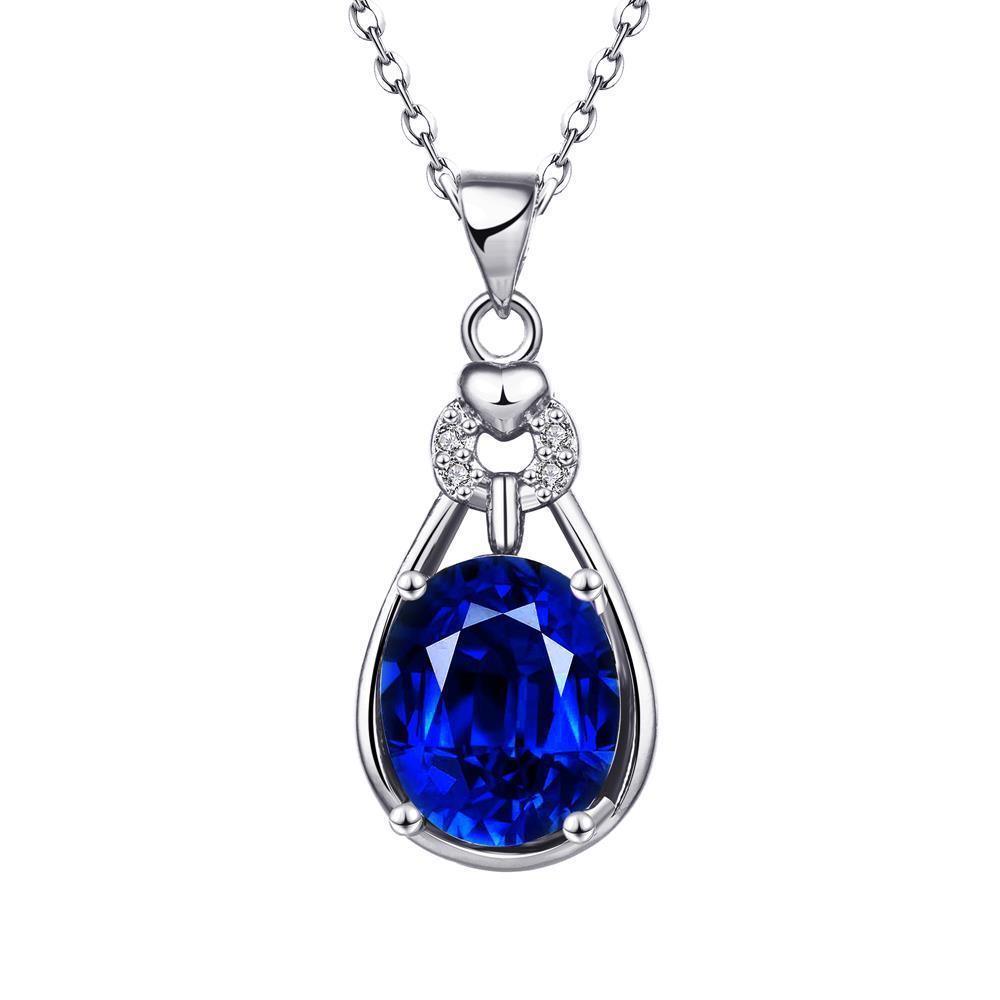 Vienna Jewelry White Gold Plated Saphire Drop Necklace