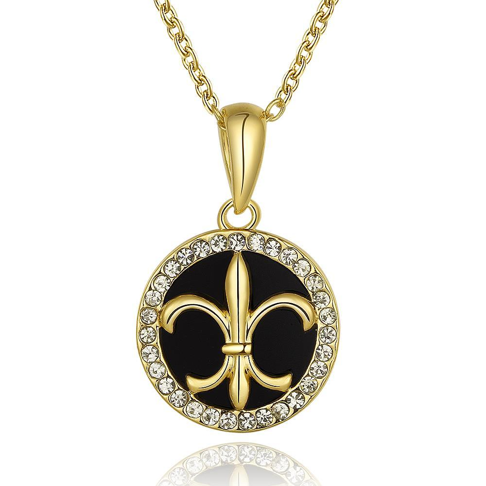 Vienna Jewelry Gold Plated Spiral Saint Emblem Necklace