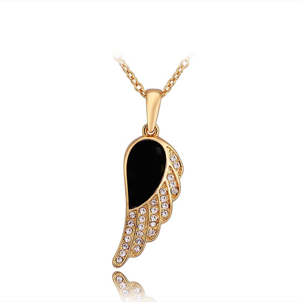 Vienna Jewelry Gold Plated Onyx Spiral Emblem Necklace