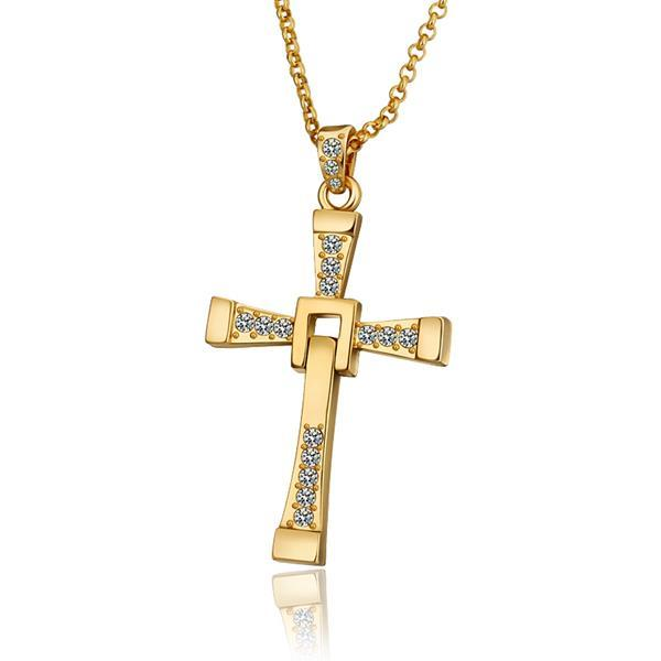Vienna Jewelry Gold Plated Classic Religious Cross Necklace