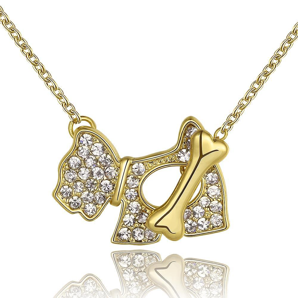 Vienna Jewelry Gold Plated Puppy Crystal Jewels Necklace