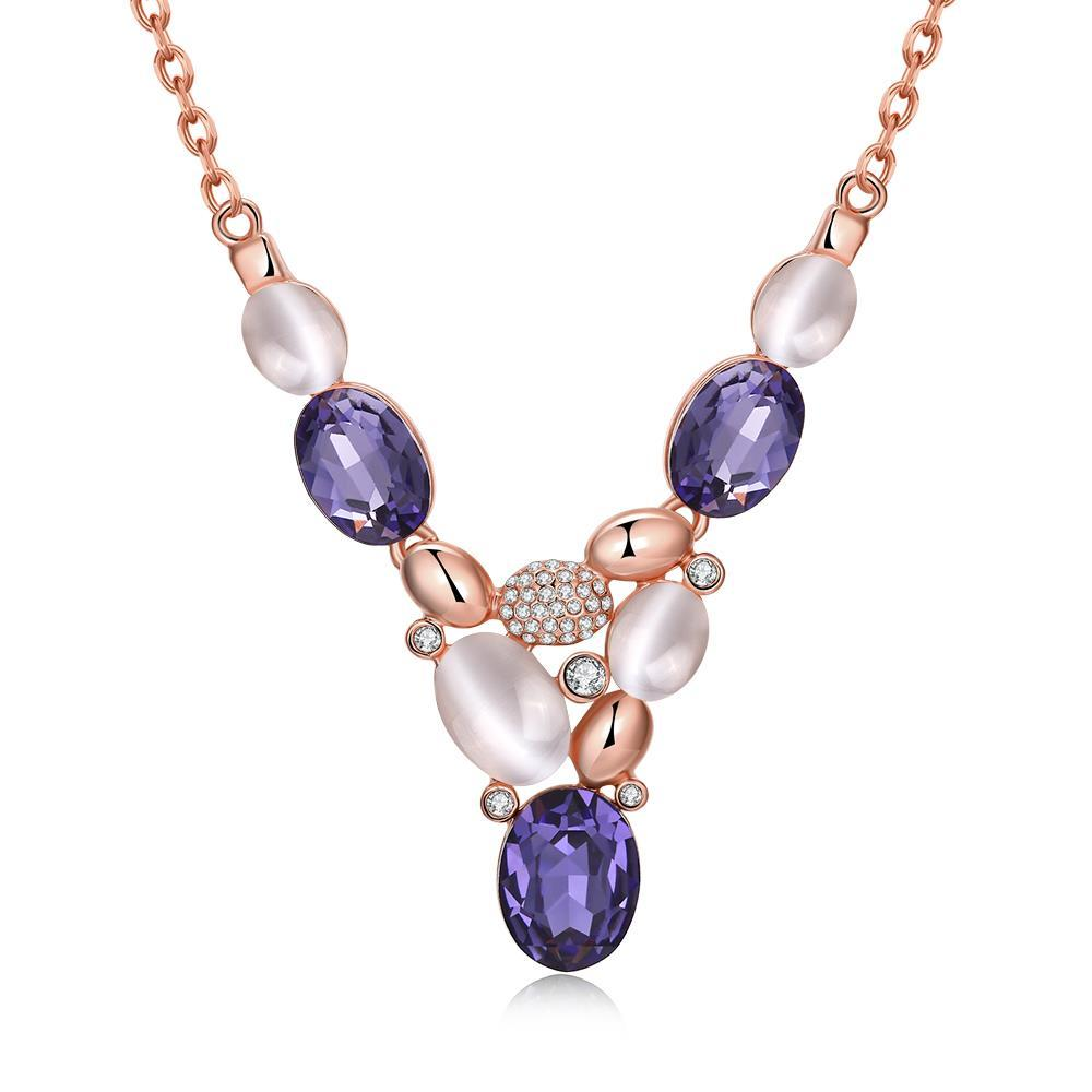 Vienna Jewelry Rose Gold Plated Trio Purple Citrine Gem Drop Necklace