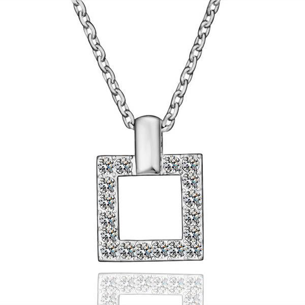 Vienna Jewelry White Gold Plated Square Shaped Crystal Jewels Necklace