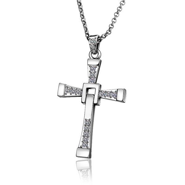 Vienna Jewelry White Gold Plated Classic Religious Cross Necklace
