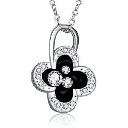 Vienna Jewelry White Gold Plated Dangling Clover Jewels Necklace - Thumbnail 0