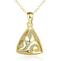 Vienna Jewelry Gold Plated Triangular Pyramid Necklace - Thumbnail 0