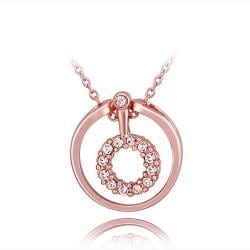 Vienna Jewelry Rose Gold Plated Circular Drop Necklace - Thumbnail 0