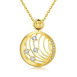 Vienna Jewelry Gold Plated Laser Cut Crystal Covering Necklace - Thumbnail 0