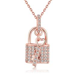 Vienna Jewelry 18K Rose Gold Plated Key to your HeartNecklace - Thumbnail 0