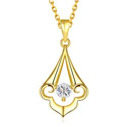 Vienna Jewelry Gold Plated Pyramid Abstract Drop Necklace