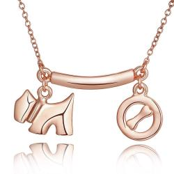 Vienna Jewelry Rose Gold Plated Puppy & Dog Treat Necklace - Thumbnail 0