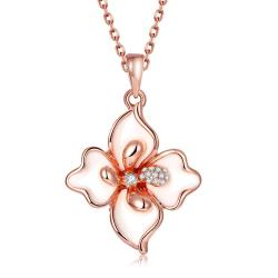 Vienna Jewelry Rose Gold Plated Ivory Diamond Petals Necklace