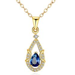 Vienna Jewelry Gold Plated Saphire Drop Necklace - Thumbnail 0