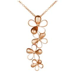 Vienna Jewelry Rose Gold Plated Ivory Floral Dangling Necklace