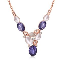 Vienna Jewelry Rose Gold Plated Trio Purple Citrine Gem Drop Necklace - Thumbnail 0