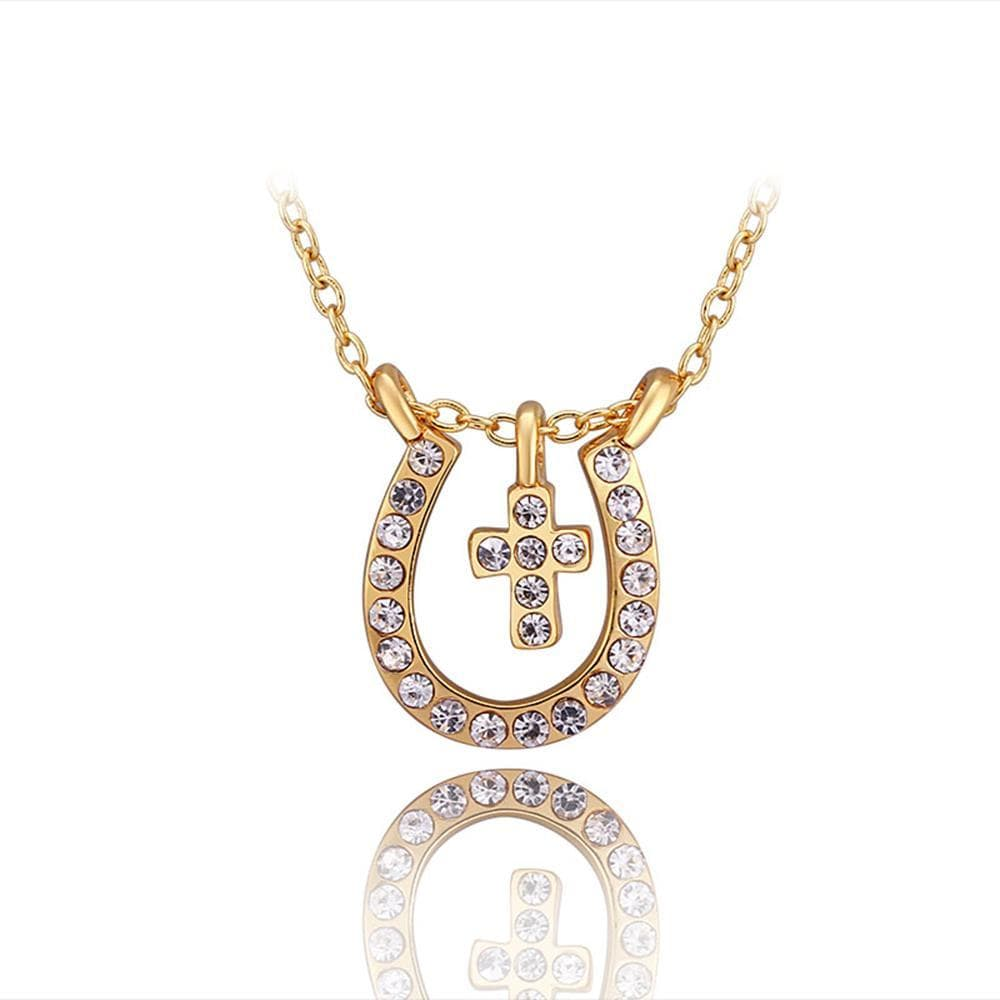Vienna Jewelry Gold Plated Petite Cross Horseshoe Emblem Necklace