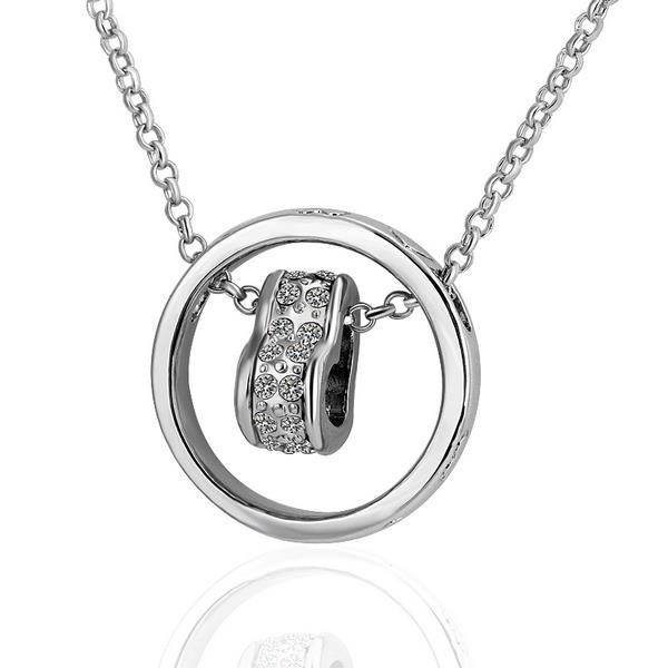 Vienna Jewelry White Gold Plated Rolling Circle Necklace