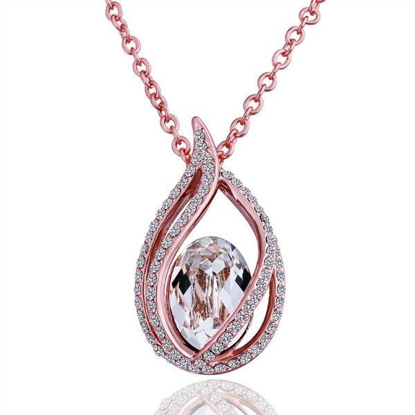 Vienna Jewelry Rose Gold Plated Blossoming Emblem with Crystal Center Necklace