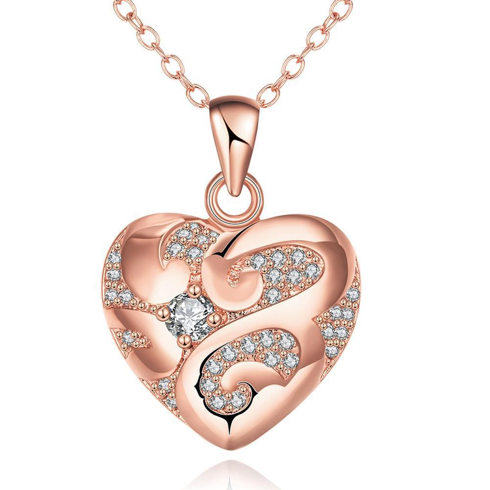 Vienna Jewelry Rose Gold Plated Tiffany's Love Necklace