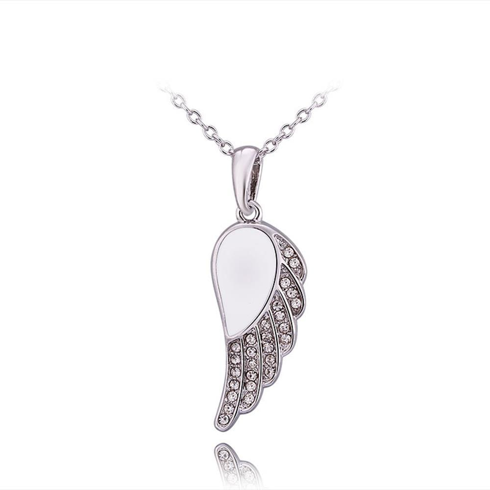 Vienna Jewelry White Gold Plated Ivory Spiral Emblem Necklace