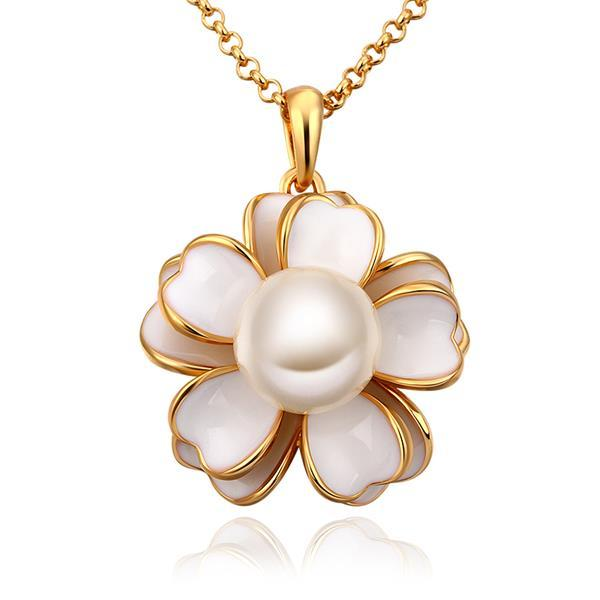 Vienna Jewelry Gold Plated Ivory Floral Pearl Emblem Necklace